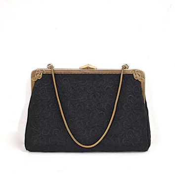 Black 1940's / 50's Purse - Embroidered Body - Brass Metal Chain Strap and Frame with Scroll Detail - Vintage Bag / Handbag.