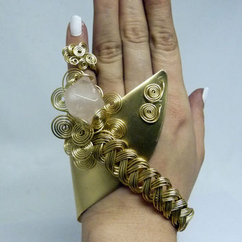 Intricate slave cuff and rose quartz in Nugold brass, statement ooak design , adjustable ring , wire wrapped jewelry , modern chunky design