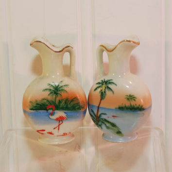 Vintage Small Pitcher Shaped Salt and Pepper Shakers (c. 1950's) Marked Japan, Beach, Flamingo, Palm Trees, Mid Century Kitsch, Painted