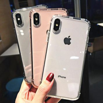 Luxury Transparent Shockproof Bumper Anti-knock Phone Case For iPhone X XS XR XS Max 8 7 6 6S Plus Clear protection Back Cover