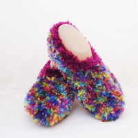 Women Slippers, Multicolour Slippers, Warm and Soft Women Slippers, Hand Knit Women short Socks, UK Seller