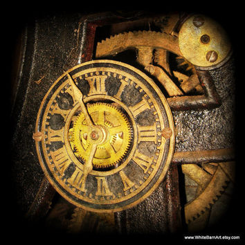 Steampunk Clock  8x8 Fine Art Photography  by WhiteBarnArt on Etsy
