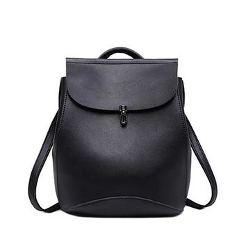 Student Backpack Children 2016 Brand Design Pu Women Leather Backpacks School Bag Student Backpack Vintage Ladies Women Bags Leather Package Female Black AT_49_3