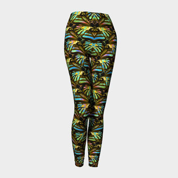 Tiger Butterfly Wings, Compression fit performance Leggings, XS,S,M,L,XL, Yoga Pants, Activewear, Made in Canada