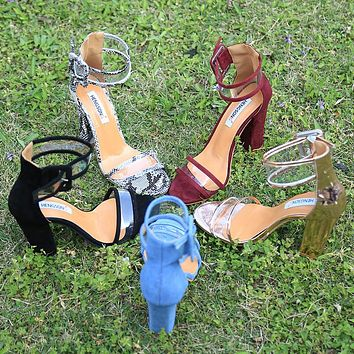 Thick Heel Ankle Sandals