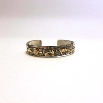 Beautiful Navajo Story Teller Cuff Bracelet T A Begay Sterling Silver & Gold Filled Thomas Begay Native American