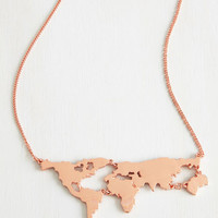 ModCloth Safari There's a Map for That Necklace in Copper