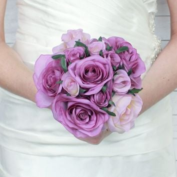 "Rose Nosegay Silk Wedding Bouquet in Lavender12"" Tall x 8"" Bouquet Head"