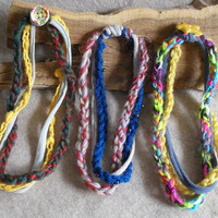 Crochet Yarn Bracelets multi-strand texture recycled t-shirt yarn (choose 1)