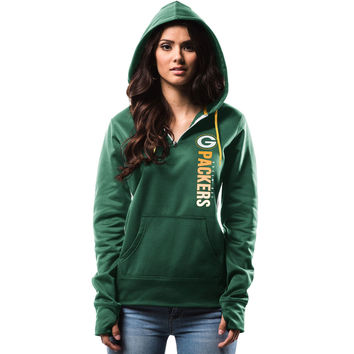 Women's Green Bay Packers Majestic Green Past The Line Synthetic Quarter-Zip Therma Base Hoodie