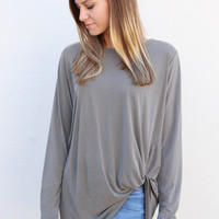 Knot Your Basic Long Sleeved Tee {Sage}