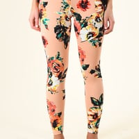 Peach Floral Leggings