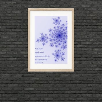 Science art - Mathematics - Russell quote and fractal poster - bedroom, lab, nursery, playroom decor