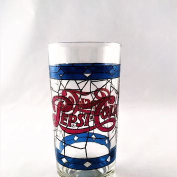 VTG Pepsi Cola Tiffany-Style Blue & Red Stained Glass Drinking Cup Collectible