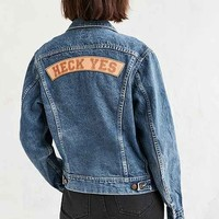 US By Understated Leather For UO Slogan Denim Trucker Jacket