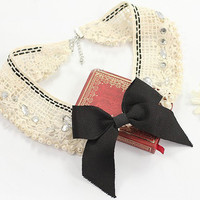 Lace Pearl ♡ Bow Collar Necklace