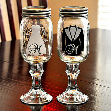 Wedding Dress Tuxedo Redneck Wine Glasses Bride Groom Toasting Mason Jar Hillbilly Wine Glasses