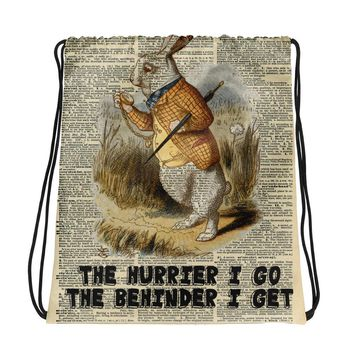 Custom Made Alice in Wonderland  White Rabbit on Dictionary Page Drawstring bag