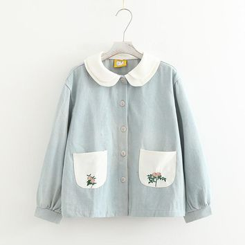 Trendy Rustic flower embroidery  female double layer peter pan collar loose denim outerwear mori girl AT_94_13