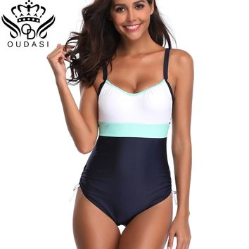 One Piece Swimsuit Plus Size Swimwear Backless Women Swimsuit 2018 Summer Large Beach Vintage Retro Bathing Suits Swim Wear 5XL