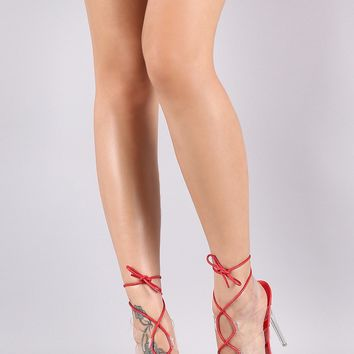 Open Toe Transparent Strap Lace Up Stiletto Heel