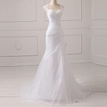 Wedding Dress Applique Beading Bodice Organza White Ivory Wedding Princess Bride Dresses