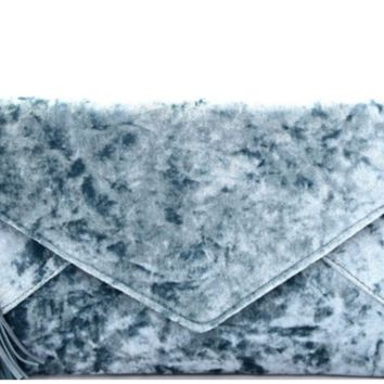 Tassel Velvet Suede Envelope Clutch Purse