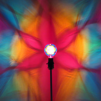 The ORIGINAL Hand-Painted Rainbow Flower of Life Mood-Light Bulb 4 Color Therapy, Night Lights, Parties, Mood Lighting