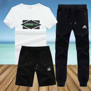 Adidas Fashion Men Summer Short Sleeve Shorts Long Pants Print Casual Three piece