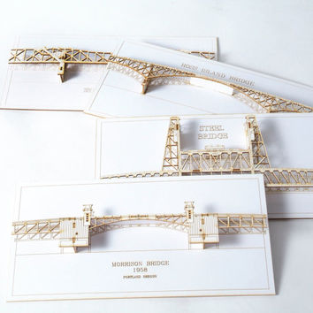 Set of Four 3D Cards of Portland Oregon Bridges - laser cut models - option two