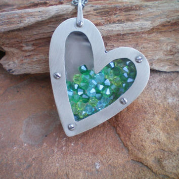 Valentine gift metal heart necklace Swarovski crystal filled heart necklace blue and green crystals floating crystal beads heart necklace