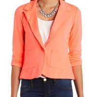 Neon Single Button Blazer by Charlotte Russe - Neon Coral