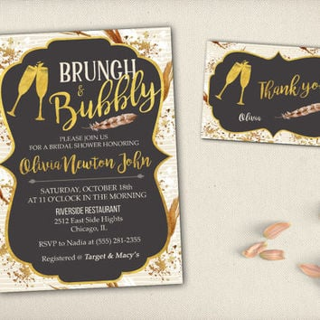 Bohemian Brunch and Bubbly Bridal Shower Invitation Brown Feathers Tribal Champagne Glasses Gold Chalkboard Printable Bridal Invite - BS015