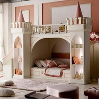 Luxury Baby Beds Literas Children's Bedroom Furniture Girl Princess Castle Bunk Bed Mother And In With Slides Ladder Cabinet