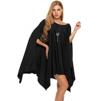 O Neck Solid Loose Cover-up Poncho Cape Tops