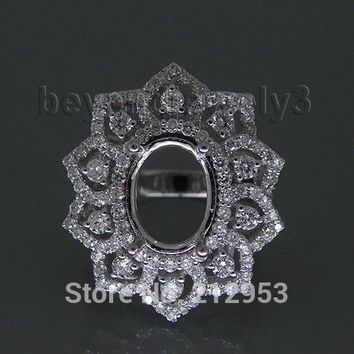 Wedding Jewelry Oval 9x11mm Solid 18Kt White Gold  Natural Diamonds Semi Mount Wedding Ring WU195