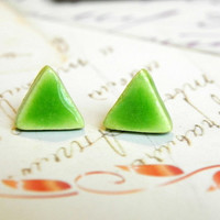Apple Green Triangle Porcelain Stud Earrings Ceramic Post Earrings Geometric Pottery Hypoalergenic  Surgical Steel Post