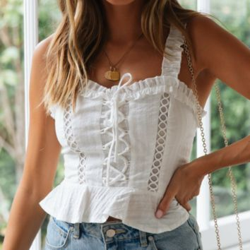 Summer New Fashion Solid Color Lace Straps Top Women White