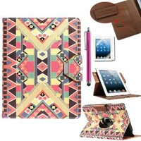 ULAK 360 Rotating Magnetic Synthetic Leather Stand Case Hard Protective Shell Smart Cover For Apple New iPad 4th Generation (Wake/sleep Function) Apple iPad 2, iPad 3(the new iPad)(Pattern-BOLD)