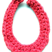 Coral Crochet Necklace. Tshirt yarn necklace. Cotton necklace. Pink necklace. Fiber necklace. Teething necklace. Statement necklace.