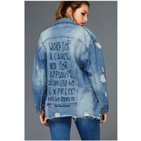 EMBROIDERED DISTRESSED DENIM JACKET