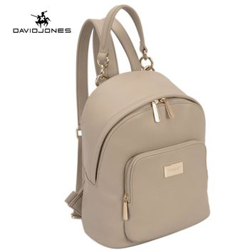 DAVIDJONES Women Backpacks Women's PU Leather Backpacks Female School Shoulder bags Teenage girls college student casual bag