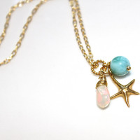 Caribbean Larimar Necklace Larimar Jewelry Opal Necklace Starfish Necklace Opal Jewelry Charm Necklace Beach Jewelry Beach Necklace