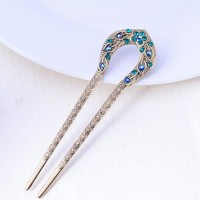 Retro Hair Jewelry Antique Bronze Plated Hairpins U shape Hair Sticks Women Rhinestone Flower Hair Accessories
