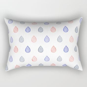 Rose quartz, serenity blue and lilac grey raindrops Rectangular Pillow by Savousepate