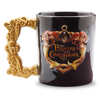 disney parks coffee cup mug pirates of the caribbean logo gold handle new