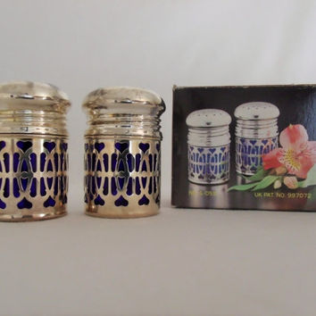 Cobalt Glass And Silver Plate Salt And Pepper Shaker Set In Box