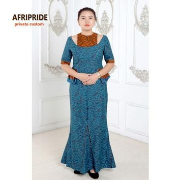 2017African dresses for women fashion elegant style african clothes plus size print cotton waxed private custom hot sale A622507