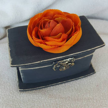 Rustic Fall Autumn Halloween Wedding Ring Bearer Pillow Alternative Ring Box