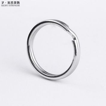 Free Shipping Saint Surprise Hot Sale Promotional 50pcs Factory Direct Selling 17mm Round Stainless Steel Split Key Ring keyring